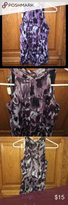 Ruffle Blouse Like new. Ruffle front. Keyhole in the back with tie. Cute for work. No flaws Tops Blouses