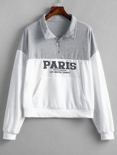 a9b918d03c Quarter Zip Pouch Pocket Pullover Sweatshirt Cute Jumpers