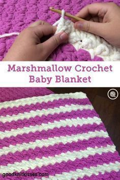 Pink and white Marshmallow Crochet Baby Blanket Pin