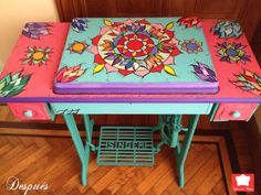 Repainted sewing table-always see these at yard sales in need of a new look Gothic Furniture, Hand Painted Furniture, Recycled Furniture, Furniture Makeover, Furniture Decor, Eclectic Furniture, Vintage Sewing Machines, Sewing Table, Diy Painting
