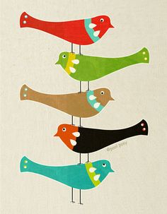 Bird Stack mid century design fine art print A4 by poolponydesign