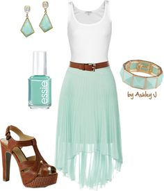 """""""High-Low Skirt"""" by iamtheashley on Polyvore...love the mint :)"""