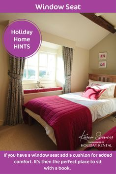 **Holiday Home Hints**  Create the perfect place to read.  It doesn't have to be a window seat, it could be a chair by the window, or a shaded spot on the terrace.  Reading is something we all like to do on holiday as we have more precious time to do so. Give guests somewhere special to do that.  Karen