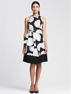 Dot-Print Belted Fit-and-Flare Dress | Banana Republic