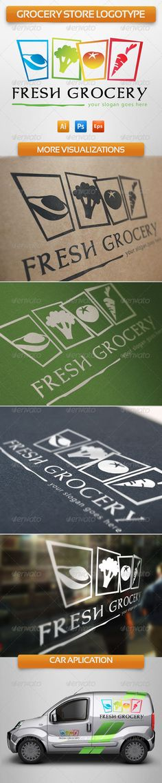 Grocery Store  #GraphicRiver         Colourful and eye catching logotype for your grocery business or supermarket with this lively eye catching fresh food emblem.  Formats:   - Adobe Illustrator CS  - EPS vector 10  - PSD editable Other uses  This logo is great for vegetarian site, diet blog, fruit and vegetable distributor, grocery store, organic products, summer festival, fruit & vegetable retailer, farmer marketplace, organic food market, nutritionist, food charity, healthy lifestyle…