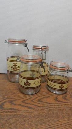 VTG 1980s ARC Pfaltzgraff Village Brown on Cream Hinged Glassware Canister Set    eBay