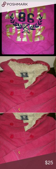 Victoria Secret Pink Jacket Pink VS hooded jacket with fur lining the whole inside. So warm and comfortable you won't want to take it off. Size large used condition, with lots of life left! Victoria's Secret Jackets & Coats