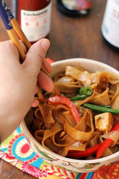 Drunken Noodles with Tofu and Peppers - Joanne Eats Well With Others