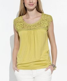 Love this Lime Crochet-Detail Top on #zulily! #zulilyfinds