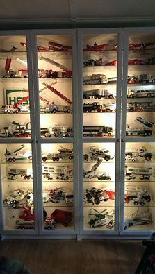 Lego Display, Display Shelves, Shelving, Display Cabinets, Display Cases, Fire Truck Room, Toddler Car Bed, Hess Toy Trucks, Legend Homes