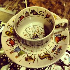 Divination Fortune Telling: Tea Cup and Saucer Decorated with Astrology Tea Cup Saucer, Tea Cups, Reading Tea Leaves, Tea Reading, Ivy House, Fortune Telling, Yule, Occult, Tea Set