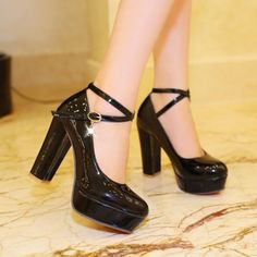 Shool-Womens-Round-Toe-Patent-Leather-Chunky-High-Heel-Strap-Mary-Janes-Shoes