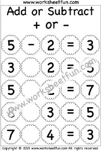 Missing Operator – Add or Subtract – 4 Worksheets