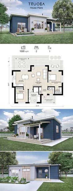 Truoba Mini 118 House Plan 1000 sq ft | 2 Bedrooms | 1 Bathrooms