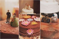 """Cute wedding cake toppers! Each cake has a different """"famous"""" couple from a Disney or Pixar movie. www.nickwelshphotography.com"""