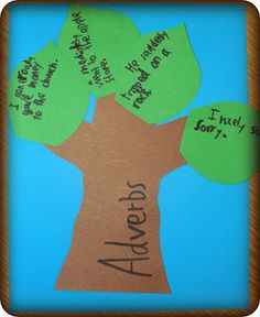 Adverb tree: give each student 4 different adverbs and have them write them in sentences, then stick them on a tree.