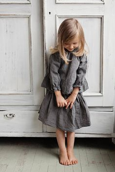 Linen Skirt, Grey Skirt for Girls, Washed Linen, Baby Linen Clothing, Christmas Outfit