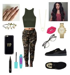 """""""Camouflage with Pumas"""" by fashionon01 ❤ liked on Polyvore featuring Topshop, Puma, Michael Kors, Madewell, Casetify, Forever 21 and Lime Crime"""