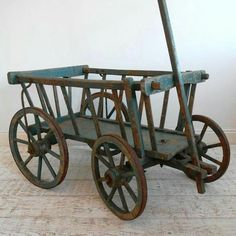 Small goat cart in old blue...decorate for every season