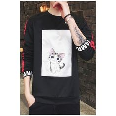 Letter Cartoon Cat Print Round Neck Long Sleeve Pullover Sweatshirt ($33) ❤ liked on Polyvore featuring tops, hoodies, sweatshirts, long sleeve pullover, initial sweatshirt, long tops, round neck sweatshirt and long length tops