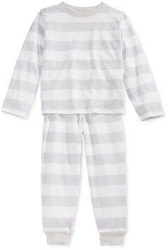 Family Pajamas Boys' or Girls' Neo Stripe Knit Pajama Set, Gray/White, 8 22253737908 Boys Pajamas, Pajamas Women, Long Sleeve Pyjamas, Long Sleeve Tops, Pajama Set, Pajama Pants, Family Pjs, Elastic Waist Pants, Striped Knit