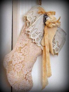 Shabby Chic Christmas Stocking, EXPECTING, Mother, Mom, Baby, Lace, Petticoat trim, Skeleton Key, Rhinestone bracelet pieces, lined