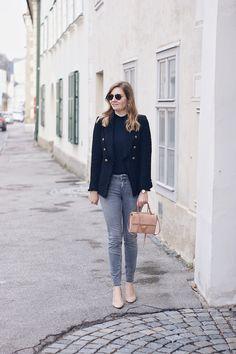 Streetstyle Herbst Outfit mit Zara Blazer, Jeans und Coccinelle Arlettis Tasche