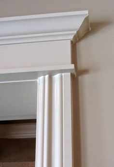 At Rivercrest Cottage Arched Interior Doors, Interior Window Trim, Door Molding, Moldings And Trim, Moulding, Craftsman Columns, Craftsman Interior, Flush Door Design, Cornice Design