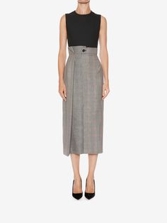 Shop Women's Asymmetrical Pencil Dress from the official online store of iconic fashion designer Alexander McQueen. Alexander Mcqueen Dresses, Mid Length Dresses, Pencil Dress, Midi Skirt, High Waisted Skirt, Casual Outfits, Dresses For Work, Clothes For Women, Skirts