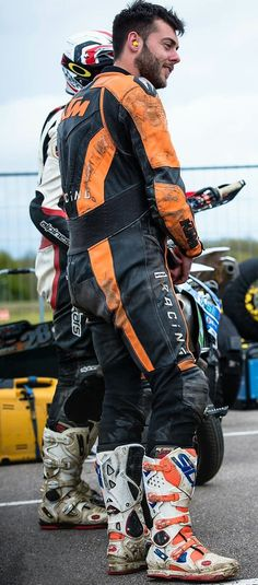 On Guys and Bikes: Photo Bike Suit, Motorcycle Suit, Motorbike Leathers, Riders On The Storm, Biker Gear, Motorbikes, Leather Men, Hot Guys, Bikers
