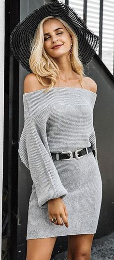 Cicy Bell Womens Long Sleeve Sweater Dress Mock Neck Casual Weave Knit Pullover Tops