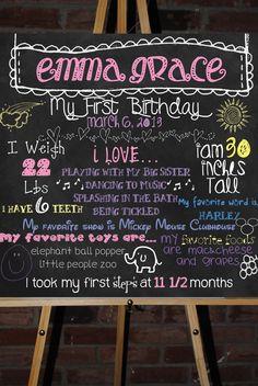 Custom First Birthday Board Poster Display. $30.00, via Etsy.