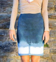 Indigo & Cobalt Hand-Dyed Pencil Skirt | Women's Clothing | Indigo & Snow | Scoutmob Shoppe | Product Detail