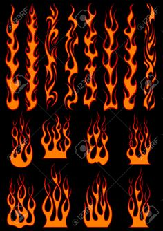 Buy Various Fiery Flames in Tribal Style by VectorTradition on GraphicRiver. Various fiery vector tribal flames in colorful orange on black including long trails suitable as depicting speed FLAT. Drawing Flames, Fire Drawing, Painted Jeans, Painted Clothes, Estilo Tribal, Custom Paint Motorcycle, Flame Art, Flame Design, Fashion Sewing