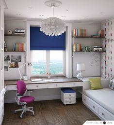 Study Room Design, Study Room Decor, Room Design Bedroom, Small Room Design, Boys Bedroom Decor, Girl Bedroom Designs, Home Room Design, Kids Room Design, Small Room Bedroom