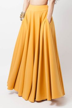 Mustard yellow lycra skirt with pockets Frock Fashion, Fashion Pants, Hijab Fashion, Fashion Dresses, Indian Designer Outfits, Indian Outfits, Designer Dresses, Fancy Dress Design, Ladies Dress Design