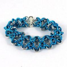 Teal Chainmail Bracelet Olivia Weave by HCJewelrybyRose on Etsy
