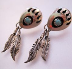 $32.50 Native American Turquoise Bear Paw Claw Foot Sterling Earrings Dangle Drop Feather Pierced Vintage Jewelry Jewellery FREE SHIPPING by BrightEyesTreasures on Etsy