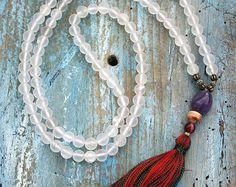 Beautiful cherry quartz gemstone mala necklace by look4treasures