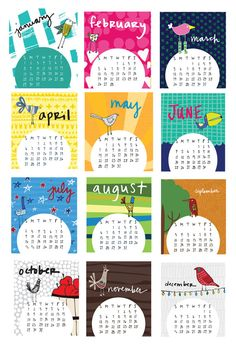 Mini 2017 Desk Calendar with display case - Monthly Calendar - 2017 color Calendar - 2017 Desk Calendar - Bird Pattern Calendar - Bird Art