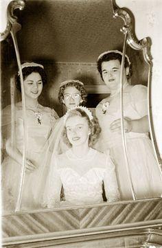 vintage Bride  and her best gals 1950s