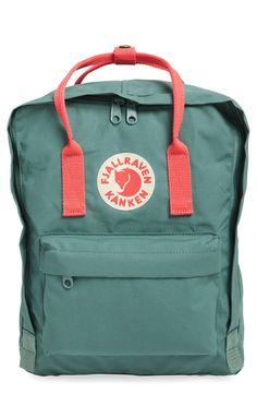 Fjällräven 'Kånken' Water Resistant Backpack, Frost Green w/ Peach Pink