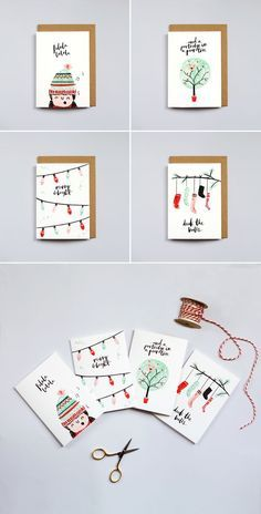 The Lovely Drawer Christmas Cards   brush lettering   illustration   watercolour design   art   Christmas idea