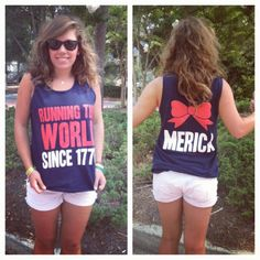 Fourth of July shirt:) 'merica🇺🇸 Summer Outfits, Cute Outfits, Summer Clothes, Holiday Outfits, Summer Wear, Rico Design, Moda Chic, Thing 1, Facon