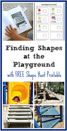 Geometry for Kids: Find Shapes at the Playground - Free Printable Kindergarten Math, Teaching Math, Preschool Activities, Preschool Shapes, Outdoor Activities, Outdoor Classroom, Math Classroom, Learning Through Play, Fun Learning