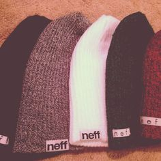 Neff beanies. I'll take one of each please (except the white).