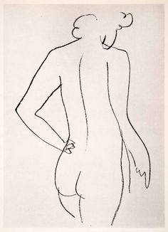 1969 Photolithograph Henri Matisse Pencil Sketch Backside Nude Woman Modern XDB7