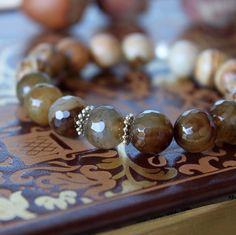 Agate, jasper and sterling silver bracelet ✨