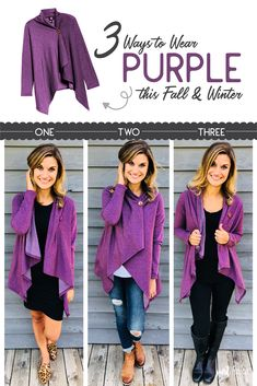 6f8477bf64d 3 Different Ways   Style to wear this draped Purple Button Cardigan this  Fall   Winter