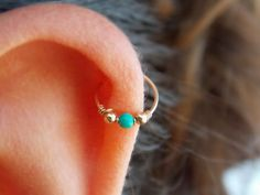 Beautiful beaded gold filled OR sterling silver hoop with a Howlite turquoise bead (December birthstone). POSSIBLE USES: Perfect for nose, ear,